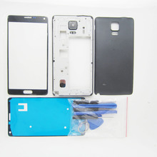 Mobile Phone Repair Parts For Samsung Galaxy Note 4 N910F N910C N910V Middle Frame Bezel + Back Cover case + Front glass & tools