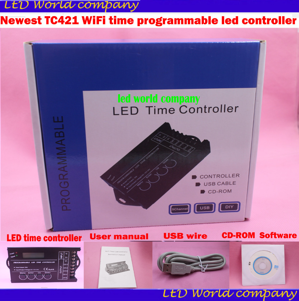 Newest TC421 WiFi time programmable led controller rgb aquarium lighting timer DC12 24V input 5 channels