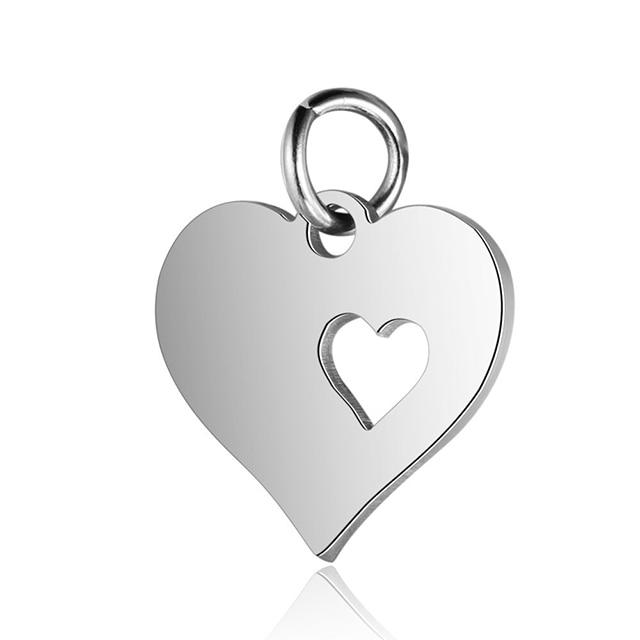 5 шт., подвеска в виде сердца из нержавеющей стали золотого цвета для самодельных шармов, ожерелья и браслеты, фурнитура для изготовления ювелирных изделий, аксессуары - Цвет: Steel