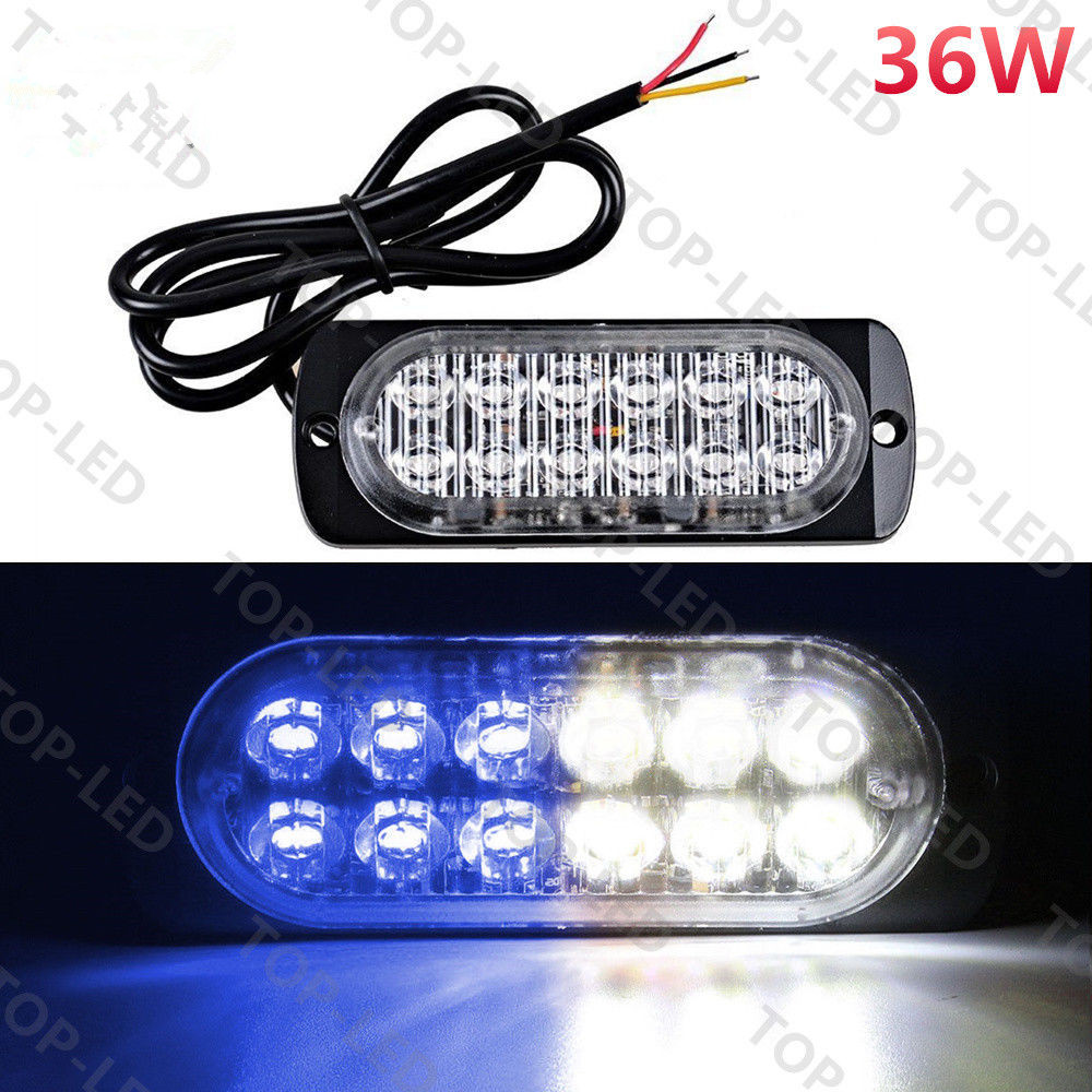 CYAN SOIL BAY 12 LED Car Truck Emergency Hazard Warning Beacon Strobe Light Grill Blue White