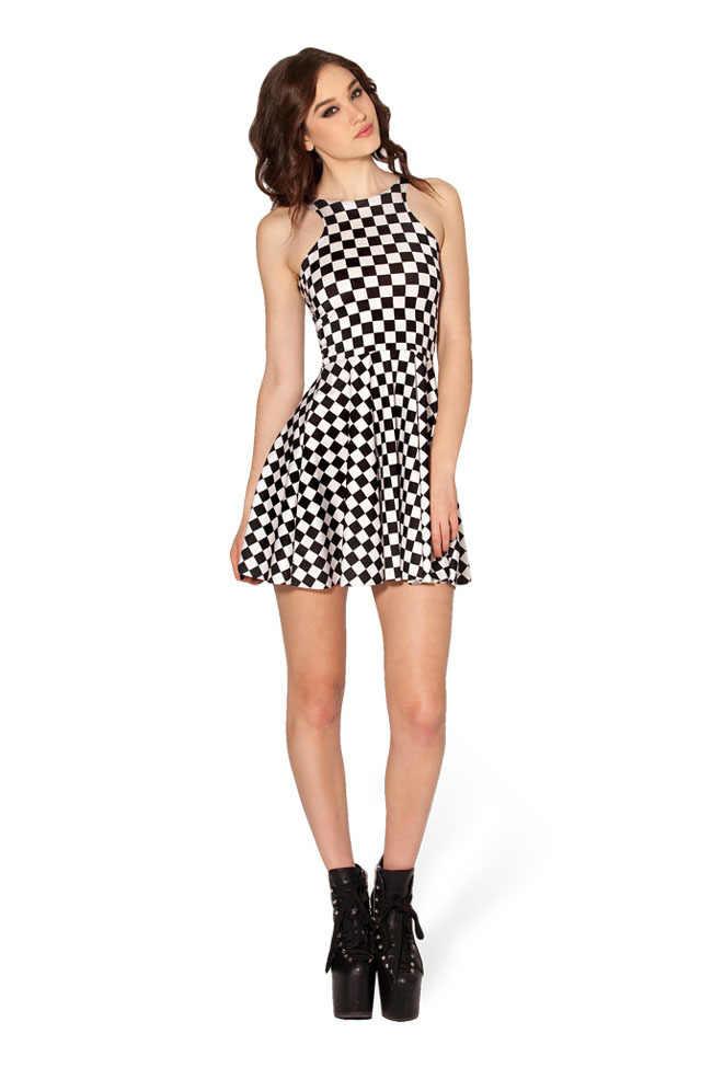 Черно-белое платье в клетку без рукавов с принтом в клетку, мини-платье с плиссированной юбкой ТРАПЕЦИЕВИДНОЕ расклешенное платье в стиле панк, клетчатое приталенное платье