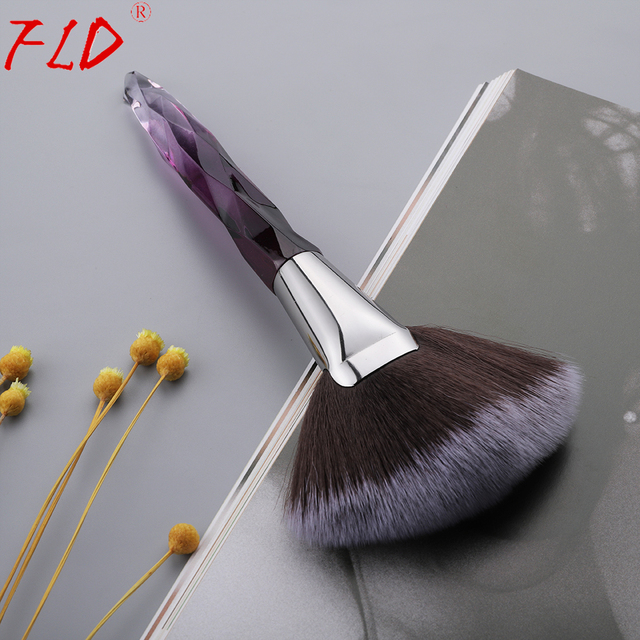 FLD Crystal Makeup Brushes Set Powder Foundation Fan Brush Eye Shadow Eyebrow Professional Blush Makeup Brush Tools 2