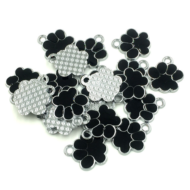 20Pcs Silver Tone Bear's Pat Enamel Black Charms Pendants Jewelry Making 19x17mm 3