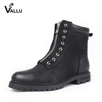 VALLU 2018 Winter Women Ankle Boots Genuine Leather Snow Boots Low Heel Front Zip Natural Wool Female Warm Boots