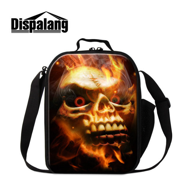 b9f67edf61 Dispalang Flame Skull Print Thermal Lunch Bag Kids Cooler Lunch Box Children  Picnic Lancheira Food Bag Insulation Meal Package