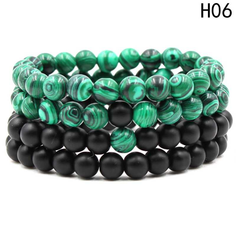 2018 New Arrival Malachite Frosted Stone Distance Bracelet Set Charms Round Beads Elastic Couple Braclet For Women Men  Jewelry
