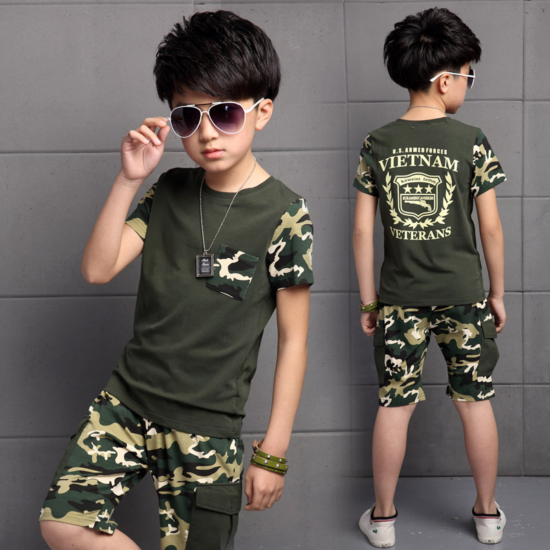 Top, And, Shorts, Short-sleeved, Camouflage, Sports