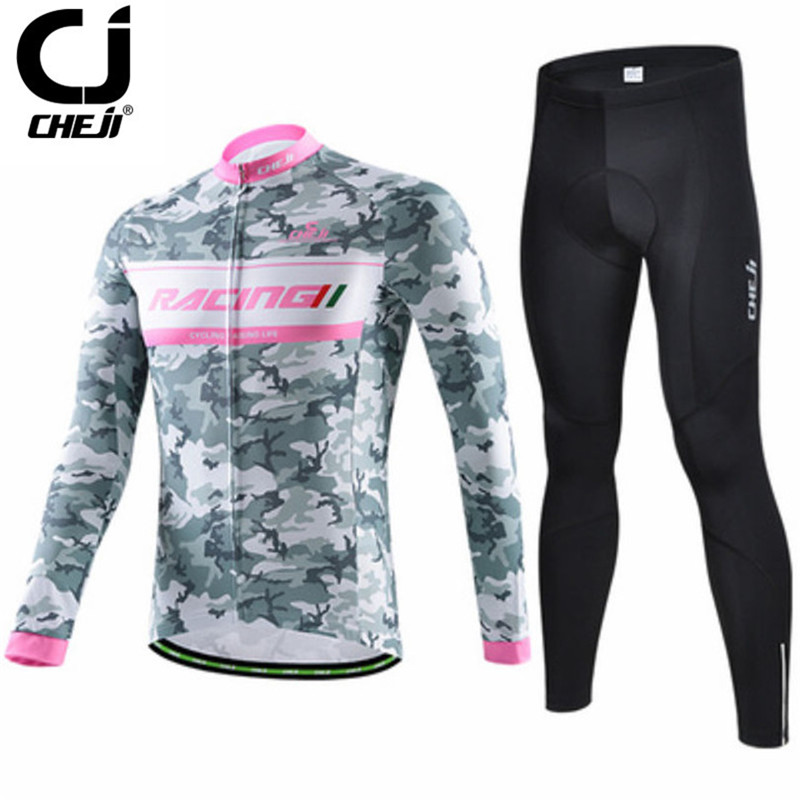Cheji Camouflage long Sleeve Riding Cycling Jersey Ropa invierno Ciclismo Sport Bicycle Cycling Clothing Winter Warm Bike Jersey cycling jersey 2017 cheji top high quality racing sport bike jersey mtb bicycle cycling clothing ropa ciclismo summer clothes