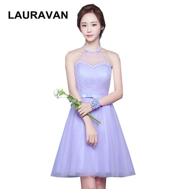 sexy tulle halter neck applique corset sweetheart neckline lavender  bridesmaid dress short knee length gown free shipping a9691ab690fa