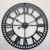 60cm European Large Roman Wrought Iron Wall Clock Modern Design Living Room Mute Decorative Round Quartz Clock Clock on The Wall|Wall Clocks|Home & Garden -