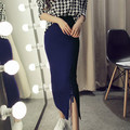 Wool knit skirt Slim package hip skirt lace side slit skirt Dongkuan female wholesale
