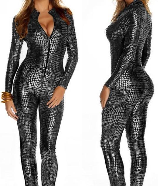 Vinüül Snakeskini bodid Faux lateksist kassipüksid Pole Tants strippar Riided erootiline fantaasia Fetiš bondage kleit Seksikad kostüümid