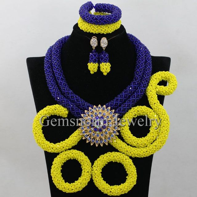 Exclusive Royal Blue and Yellow Indian Arabic Wedding Costume Jewelry Set Nigerian Wedding African Beads Jewelry Set New WA376