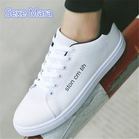Men S Fashion Spring Autumn PU Lace Up Outdoor Casual Shoes Breathable Flats Male Skate White