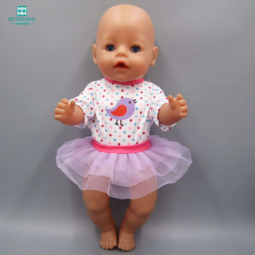 Baby Born Doll Clothes dress Fit 43cm Zapf Baby Born Doll Baby Siamese Clothes + Purple Puff Skirt cheap price baby born zapf doll accessories doll shoes fit 43cm baby born zapf doll ds30