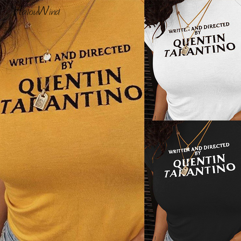 summer-quentin-font-b-tarantino-b-font-letter-print-yellow-t-shirt-cropped-short-sleeve-streetwear-tops-tees-crop-top-camisetas-90s-tee-tshirt