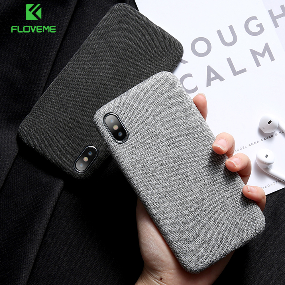 FLOVEME Cloth Texture Case For iPhone 7 X 8 Plus Soft Silicone TPU Ultra Thin Case For iPhone 7 8 Plus 6 6S Plus X Cover