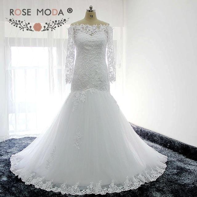 Rose Moda Boot Neck Long Sleeves Lace Meerjungfrau Hochzeitskleid ...
