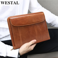 WESTAL Genuine Leather men A4 Document Bag Vintage wallet Envelope file folder portfilio card holder coin purse male cluth bag