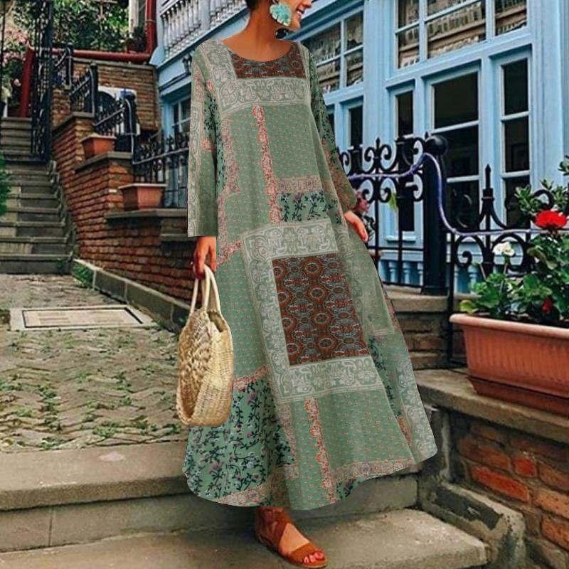 ZANZEA Frauen Herbst Vintage Floral Gedruckt Lange Kleid Baumwolle Leinen Sommerkleid Robe Femme Lange Hülse Lose Maxi Vestido Plus Größe