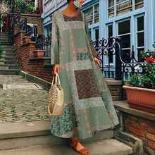 Женское осеннее винтажное длинное платье zanzea с цветочным
