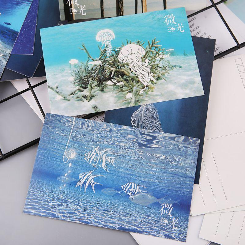 30pcs Vintage Luminous Postcard Glow In The Dark Ocean Greeting Post Card Novelty Xmas Greeting Cards Gift