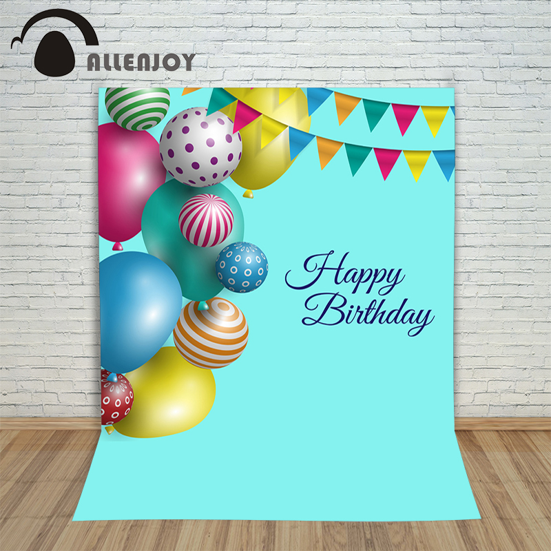 Photo background vinyl birthday photo confetti cake gift balloons  photocall Digital Printing Happy Photography studio prop 100