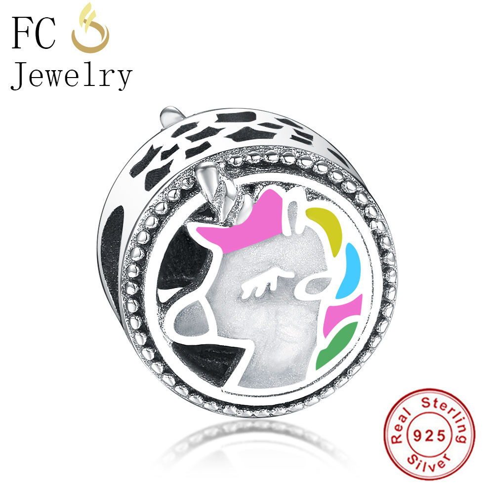 FC Jewelry Fit Original Pandora Charms Bracelet Authentic 925 Silver Color Enamel Horse Beads for Making DIY Gift Berloque New