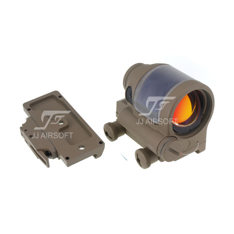 JJ Airsoft SRS Style 1x38 Red Dot & (Solar cell assisted) (Tan) & QD / Quick Release Mount AC32002 (Tan) jj airsoft t1 t 1 red dot 45 degree offset mount qd mount and low mount tan