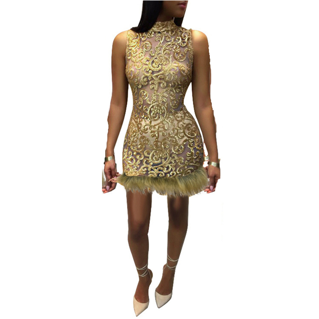 New Women Gold Sparkling Sequined Dress See Through Sleeveless Sexy Glitter  Short Bodycon Party Dresses Vintage ab8ee2259494
