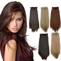 Full Head Clip in Extensions Women Long Straight Clip on Hair Extension 8 Pieces Heat Resistance Straight Hair Clip