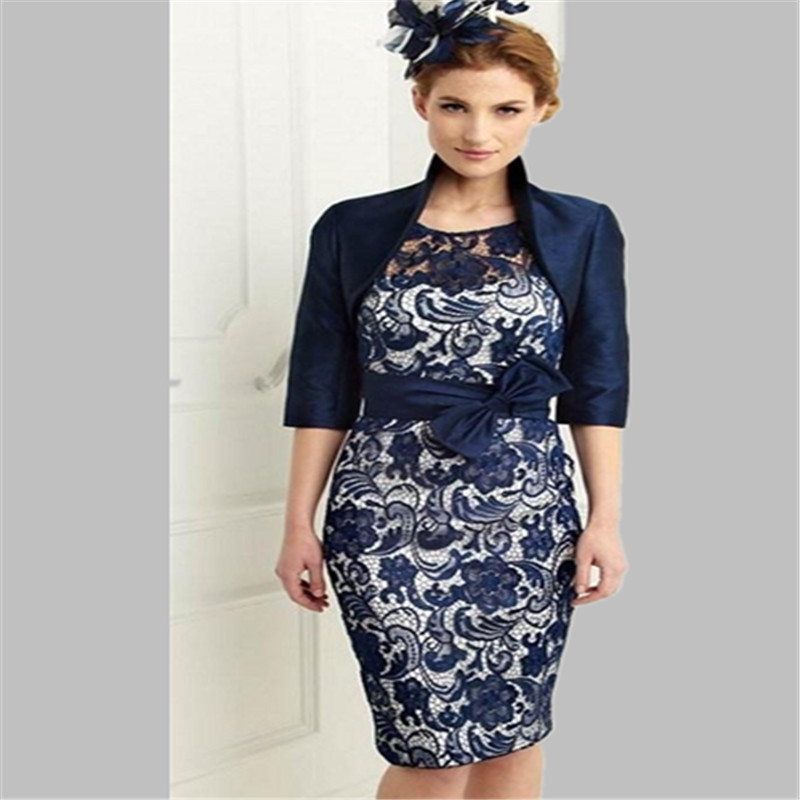 Free Shipping New Navy Blue Satin Lace Knee Length Sheath Scoop Mother Of The Bride Dresses With Jacket Plus Size 2017 In From