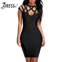 INDRESSME Sexy Hollow Out Mini Summer Women Bandage Dress Fashion O Neck Solid Bodycon Sleeveless Lady