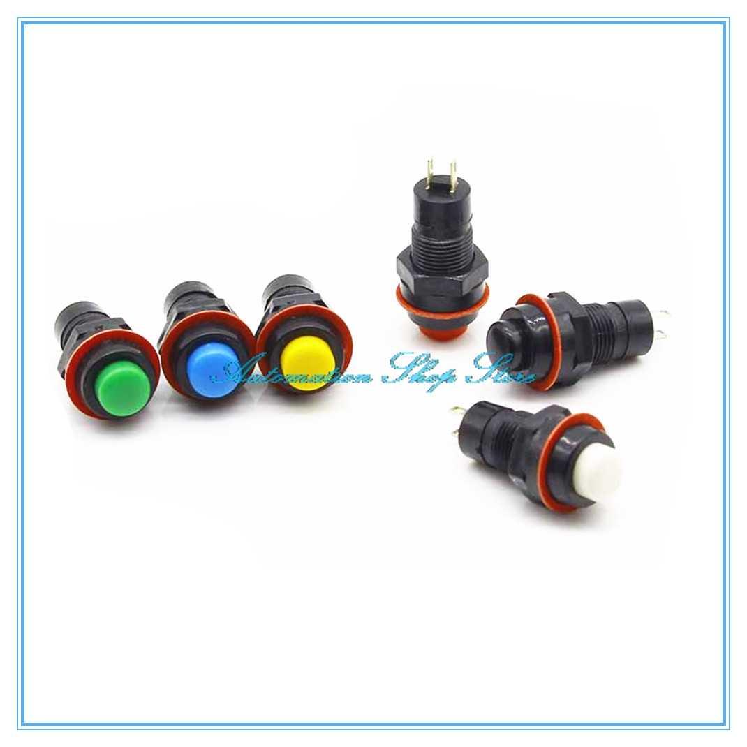 10 piezas de interruptor de botón de pulsación/momentáneo interruptor de llave de 10mm 2PIN 2A 125 V
