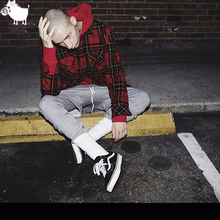 Man Si Tun Streetwear Punk Tartan Brand Clothing MenClothes Korean Extended Gray red Checkered Plaid Shirt