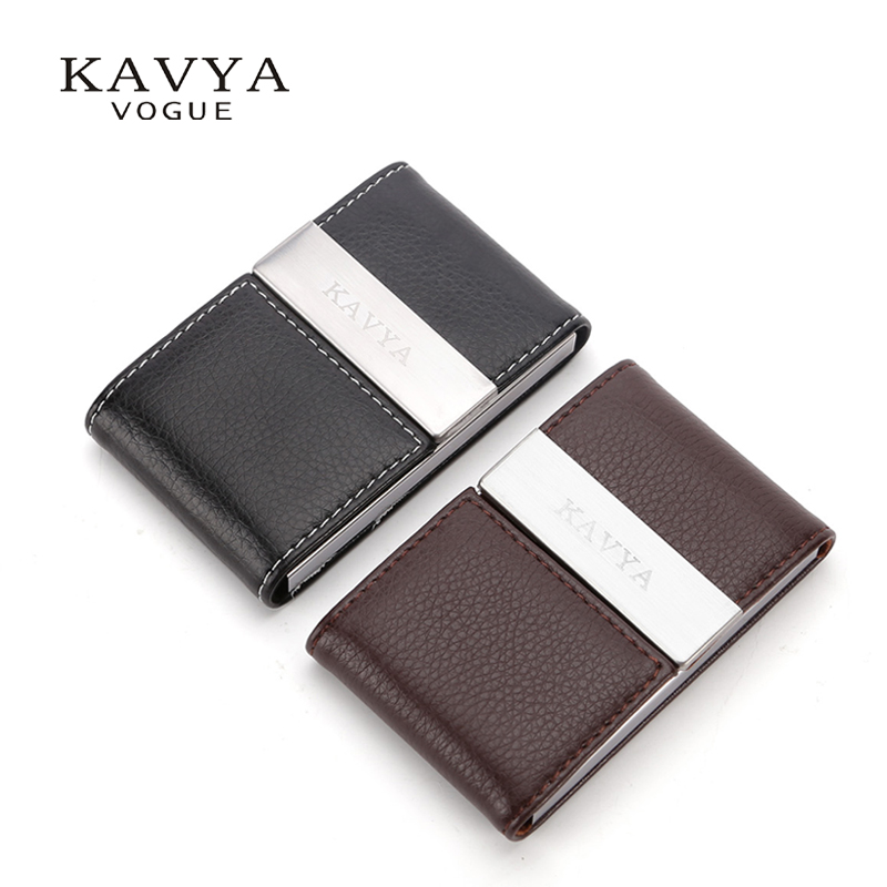 Kavya Business Namecard Holder Laser Brand Magnetic Lock Cow Leather Id Card Case Credit Organizer Wallet Gift In Holders From
