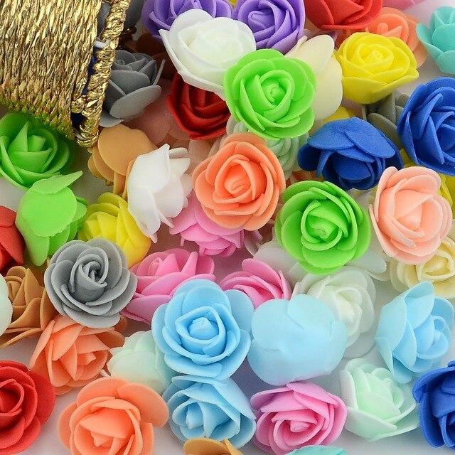 100 pçs/saco Mini Cabeça de Espuma PE Flor Rosa Artificial Flores Rosa Artesanal Casamento DIY Decoração de Casa Festividades & Party Supplies