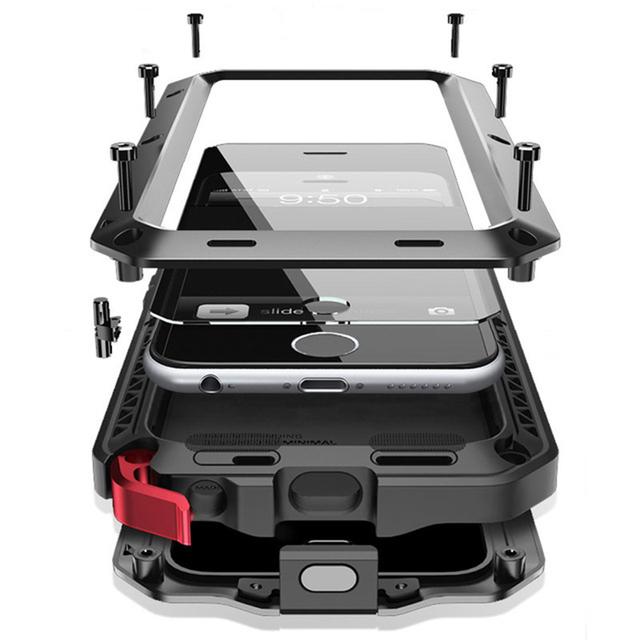 Doom armadura à prova de Choque Sujeira À Prova D' Água de Metal de Alumínio de luxo casos de telefone celular Para iphone se 5 5c 5s 6 6 s 7 plus case + vidro temperado