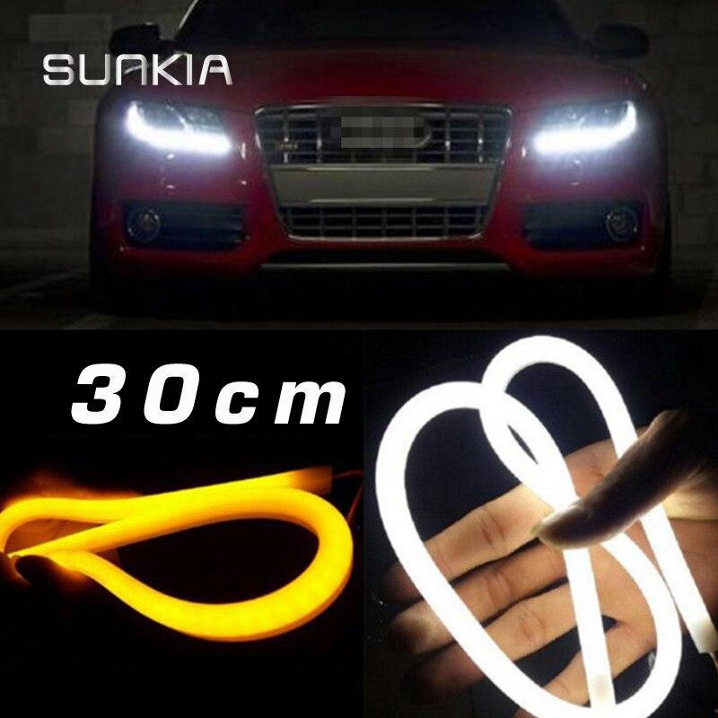 SUNKIA 30CM White+Yellow/White/Blue/Red Flexible Headlight Daytime Lamp Switchback Strip Angel Eye DRL Decorative Light