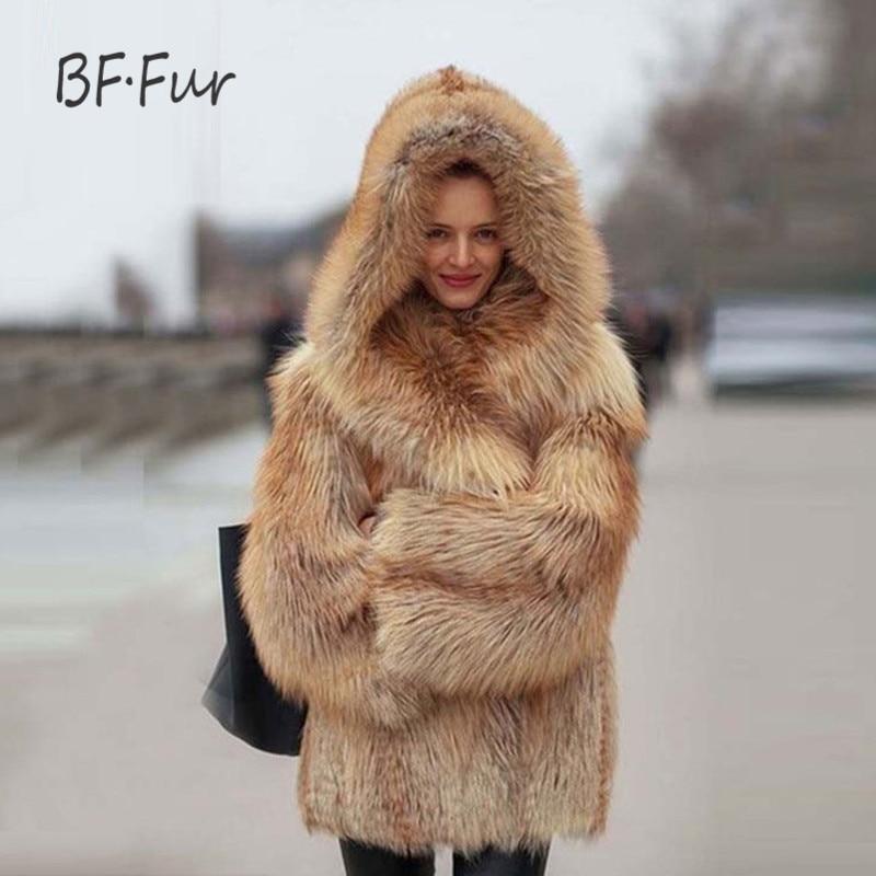 BFFUR Moda de Luxo Casaco De Pele Casacos de Pele De Raposa de Prata Reais genuína Mulheres De Couro Casaco de Inverno Quente Grossa 70 cm de Comprimento Roupas F-08