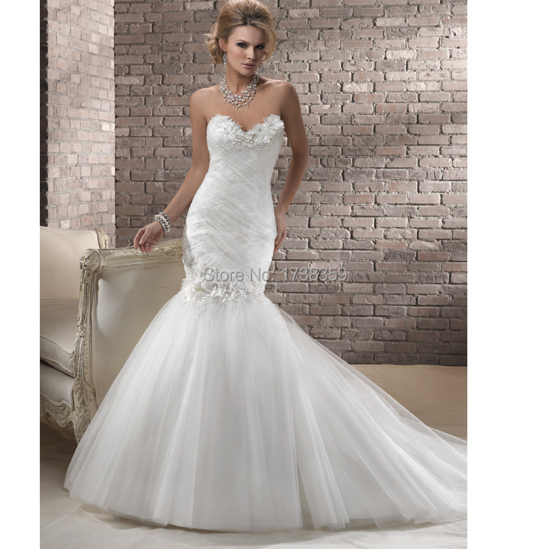 Online Get Cheap Sweetheart Satin Mermaid Bling Wedding Dress ...