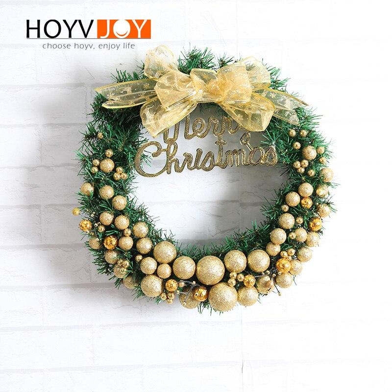 HOYVJOY Gradient Ball Garland Christmas Wreaths For Holiday Decoration Handing Wall Door