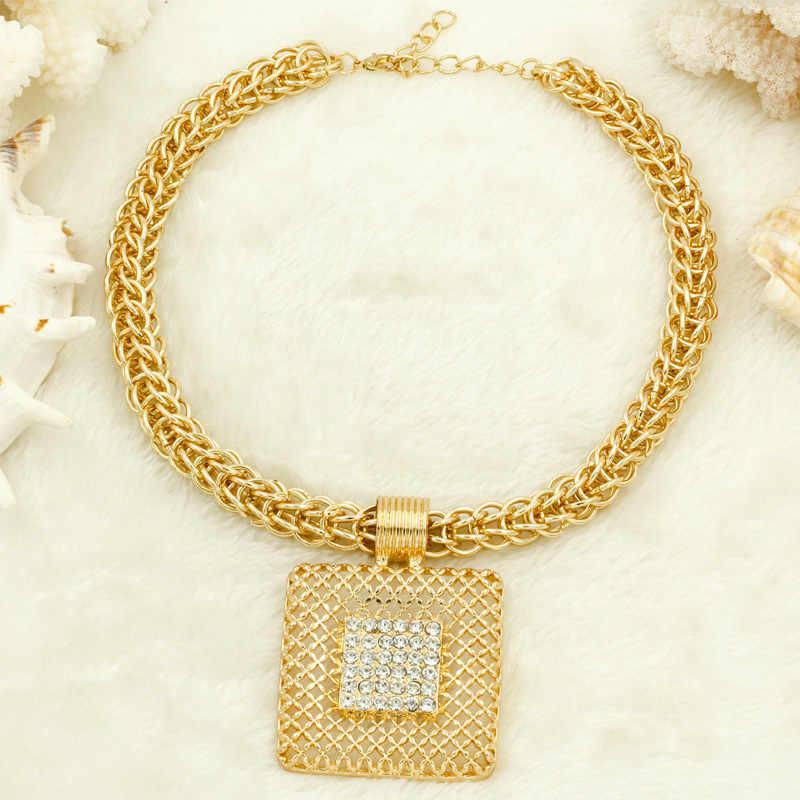Liffly prezent dla nowożeńców moda afrykańska biżuteria zestawy duży łańcuszek wisiorek naszyjnik zestaw złotej biżuterii dubaj dla kobiet
