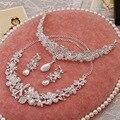 2016 Europa y América de lujo joyería nupcial conjuntos de cristal de la libélula collar pendientes tiara fija al por mayor