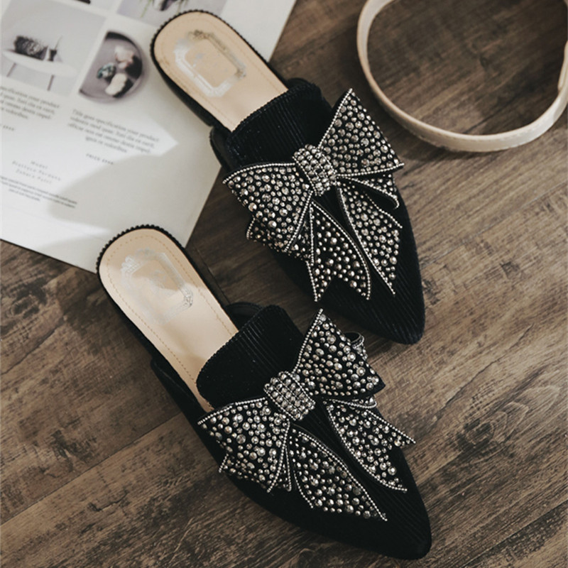 Summer Classic Mules Shoes Slides Velvet Outdoor Slipper Flat Heel Platform Butterfly-knot Woman Pointed toe Shoes Sandals pointed toe flat mules