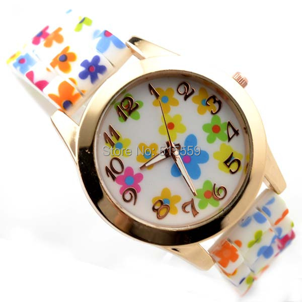 100pcs/lot DHL Free Shipping Sports Watch Silicone Watch Colourful Flower Watches Hot Sell Favourite Watches 5 Colours
