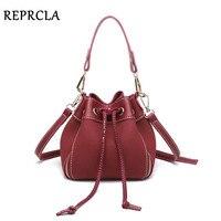 REPRCLA Fashion String Bucket Women Bags Nubuck Leather Shoulder Bag Brand Designer Handbags Women Messenger Bags