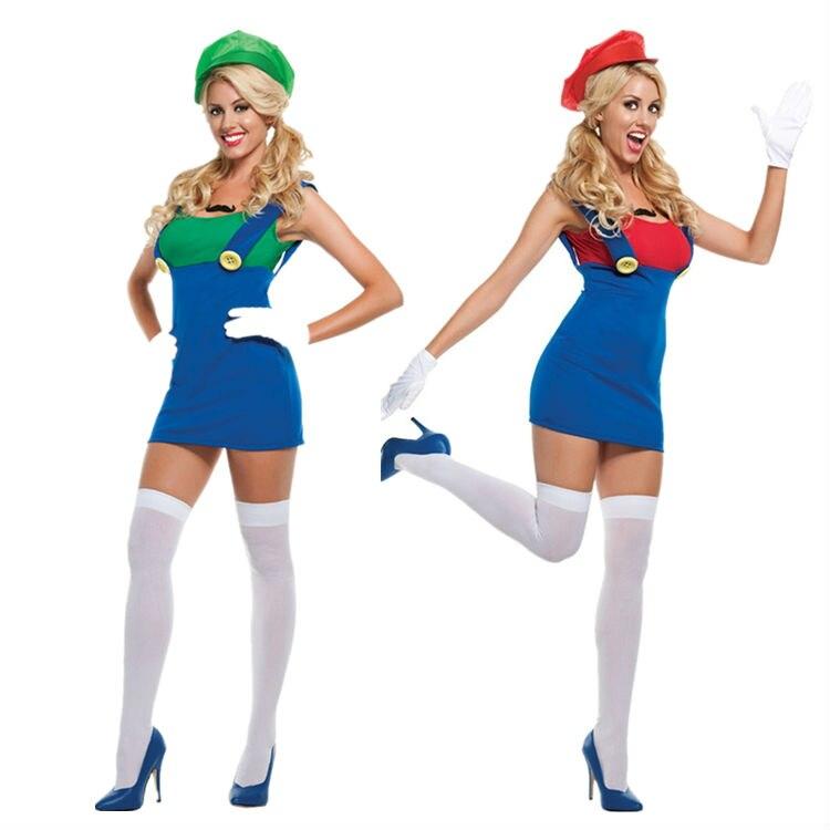 vocole super mario luigi brothers costume halloween girl cosplay plumber fancy dress green red fantasia adulto - Girl Mario And Luigi Halloween Costumes