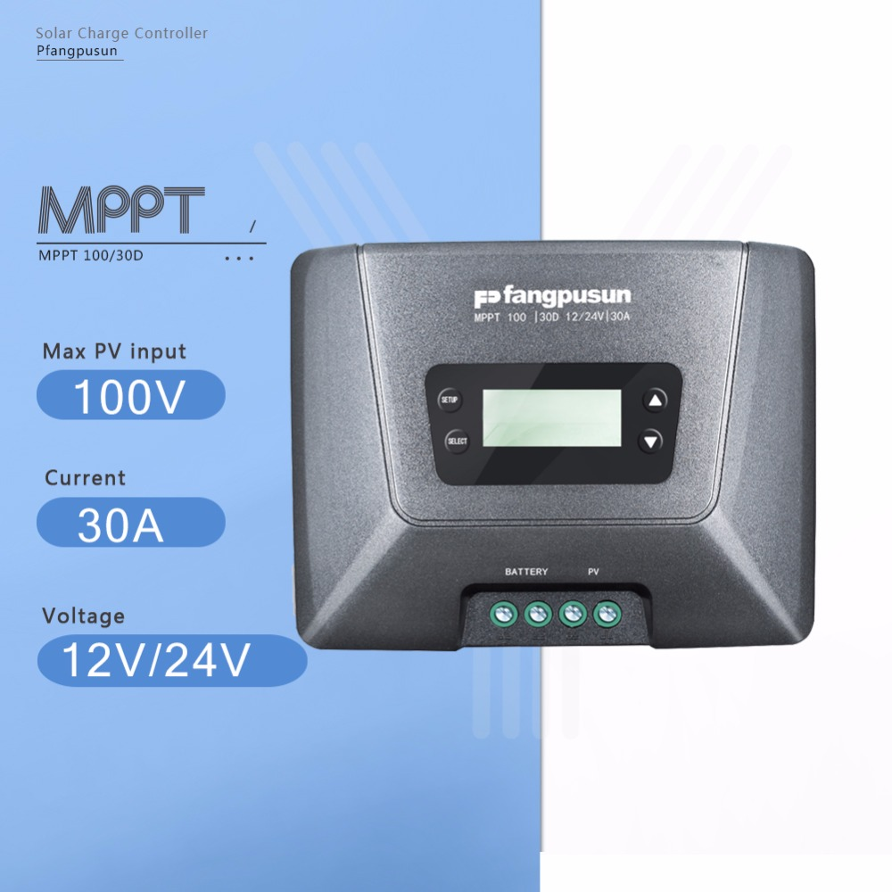 купить Fangpusun MPPT 100/30D 30A Solar Charge Controller 12V/24V Auto Max 100V Solar Panel Battery Charge Regulator with LCD Display в интернет-магазине