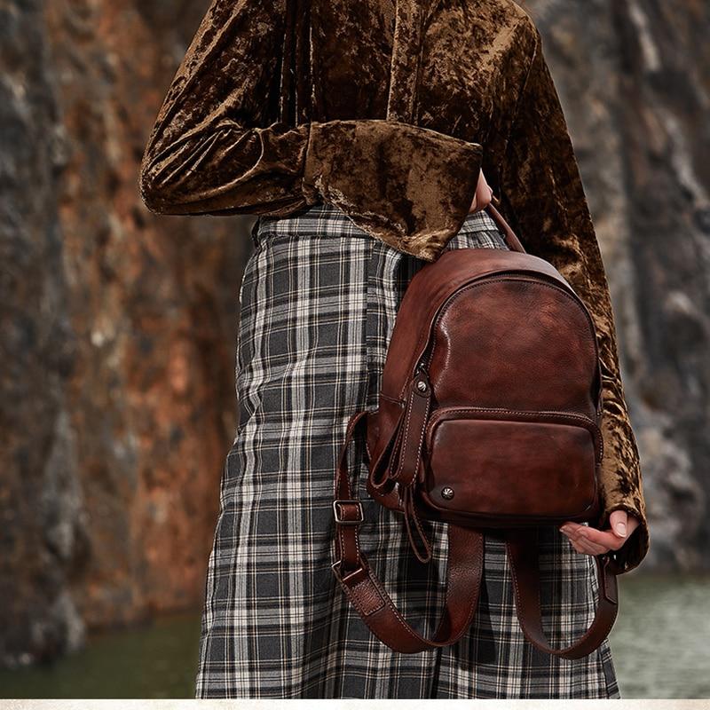 red En Gray Dos 2018 Femmes La De Classique Loisirs Sac Vintage dark Brown green Épaule Souple Brown Original À Vache Véritable dark Cuir Voyage Brown Main w4XfXBYq